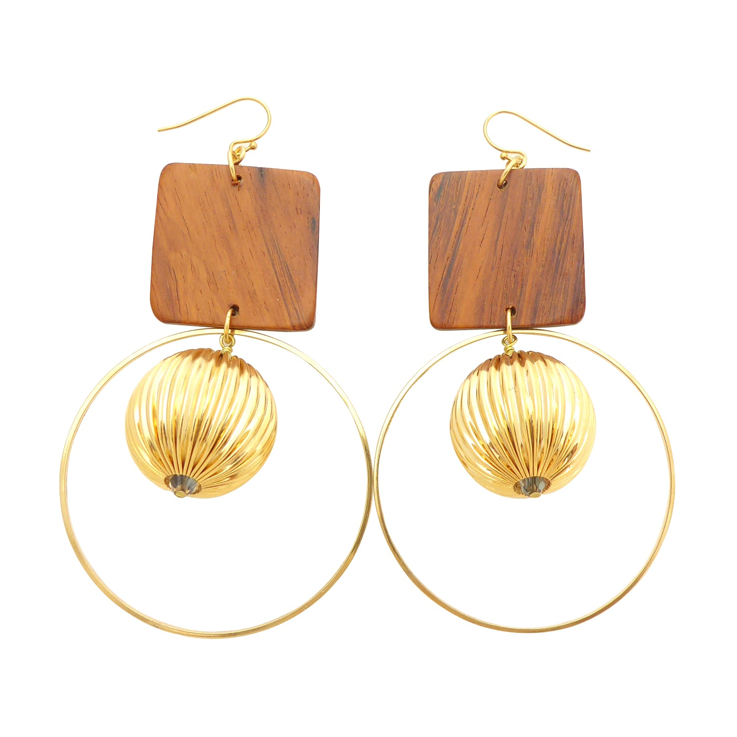 Wood square earrings