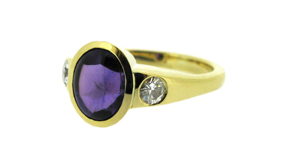 Contemporary Amethyst And Diamond Dress Ring