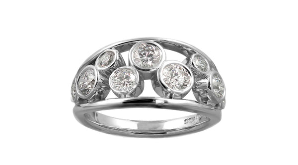 Diamond And Platinum Bubble Ring
