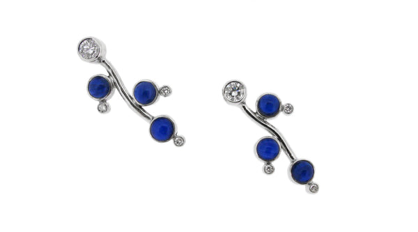 sapphire and diamond earrings in a custom jewellery design