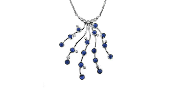 Sapphire Waterfall Inspired Necklace