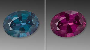 Origin 31 displays and image of the colour change of the Alexandrite stone