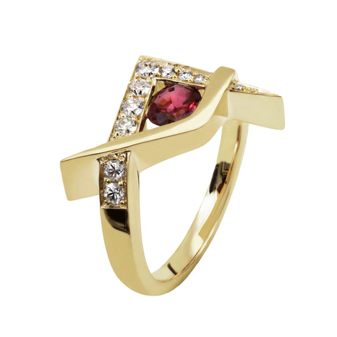 The side view of the ruby ring redesign into a contemporary version