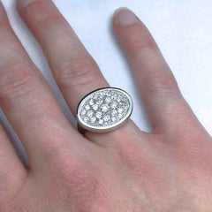 The final remodelled diamond signet ring as seen worn on the hand