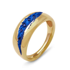 Rock Pool Custom Colour Wide Band in 18 carat yellow gold and blue sapphire