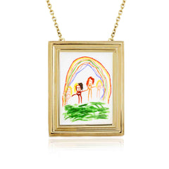Framed Necklace inspired by a child's painting handmade in 18 carat yellow gold