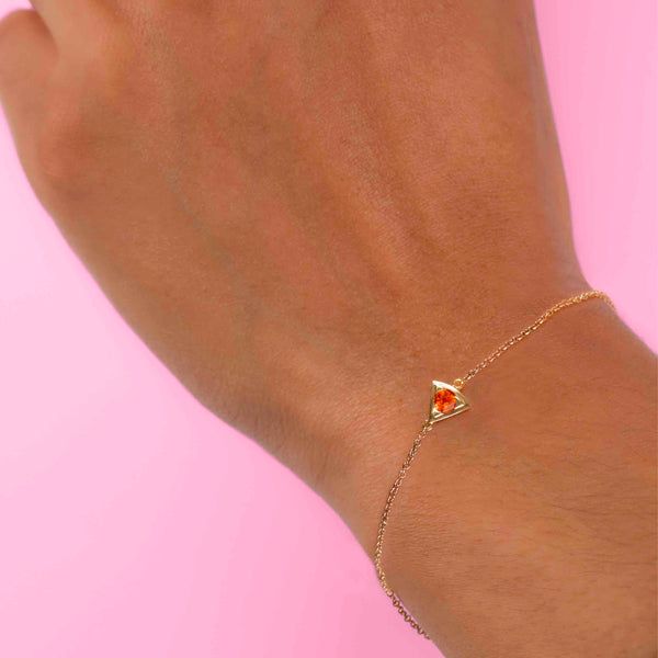 Fire Opal Wedge Bracelet