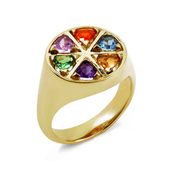 Our unique jewellery range is enhance by this handmade colourful gemstone ring, the wedge ring