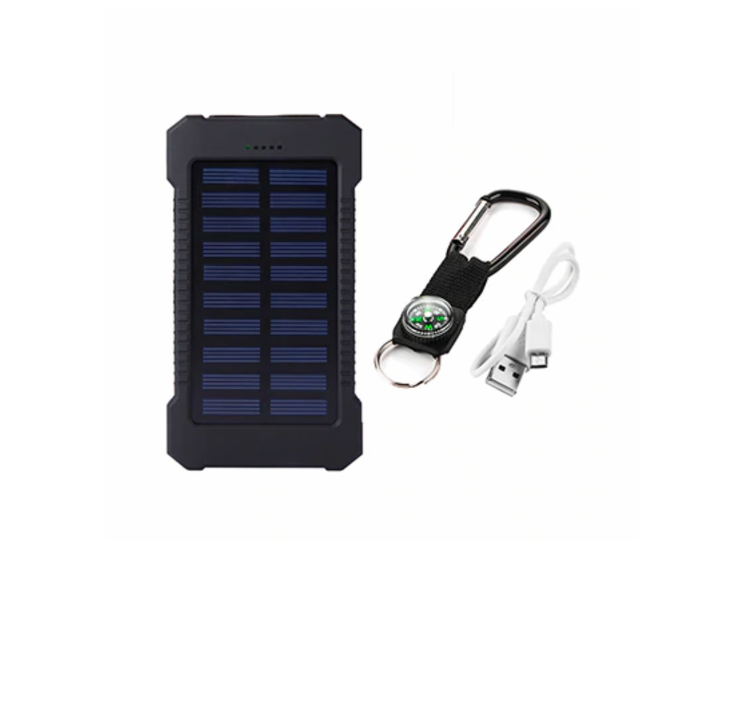 Solar Power Bank Waterproof 20000mAh /2 USB Ports to charge Phone & LED Light