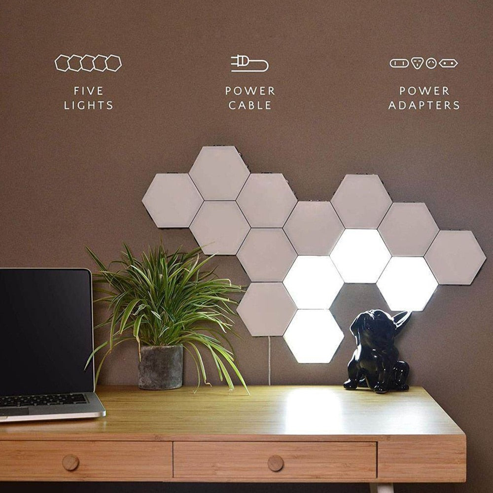 LED Touch Switch Quantum Hexagonal Wall Lamp