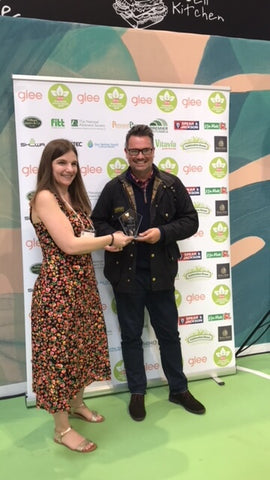 Rhino Greenhouses Direct receiving Best Greenhouse Brand award at the Great British Growing Awards, Glee NEC, Grow Your Own