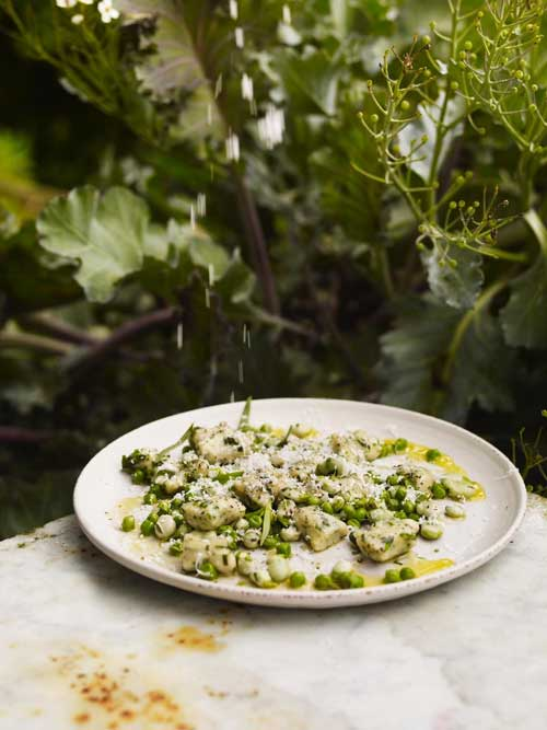 Broad bean and peas with parsley gnocchi on a white ceramic plate on a marbled table with greenery behind
