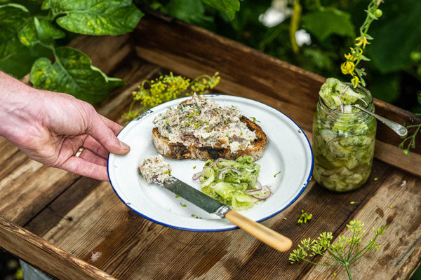 Mackarel Pate on toast served with cucumber salad on the side. Set on a wooden tray wth fresh summer foliage behind.
