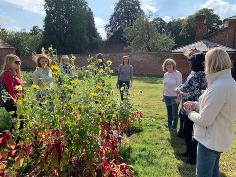 Discussing cut flower growing in the walled garden of Ketteringham Hall
