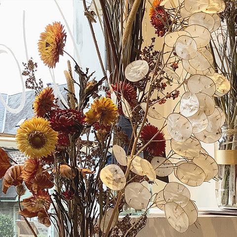 Dried flowers in shop front, The Maker's Gallery Crickhowell