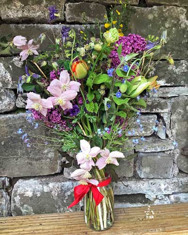 Fragrant Bouquet for VE day - lilac, alliums, lily of the valley, clematis, Raspberry, tulips, aquilegia, forget-me-nots