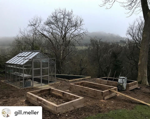 Gill Meller's new Rhino Greenhouse with wooden raised beds