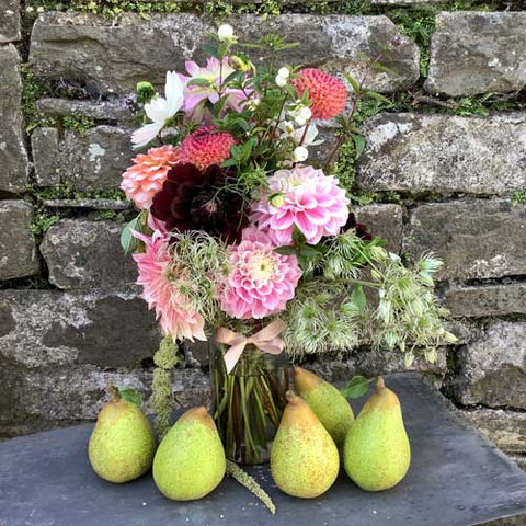 Pick of the Crop for 2020 - Doyenne du Comice with a Jar of Dahlias and Old Man's Beard