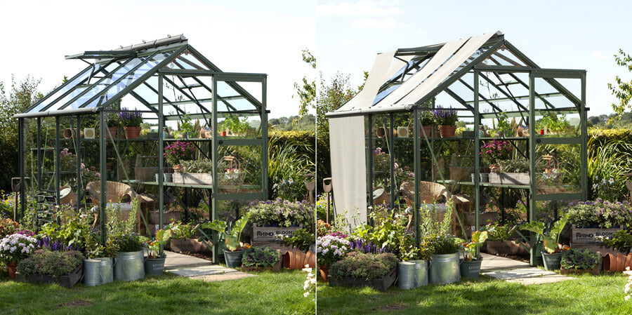 2 images of a Rhino Greenhouse side by side, one with blinds and one without to show the vent operating without obstruction.