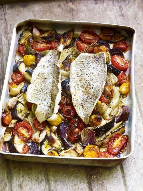 Baked Fish with Roasted Autumn Veg and Herbs
