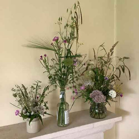 Hedgerow and meadow flowers and grasses in homely containers