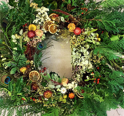 Modern wreath made with wild flowers