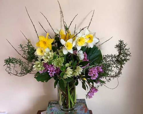 Spring bouqet from flower farmer florist. Using hellebores and daffodils.