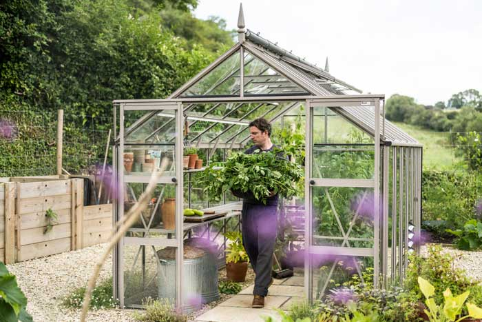 Gill Meller walking to and from his Rhino Greenhouse with armfuls of foliage.