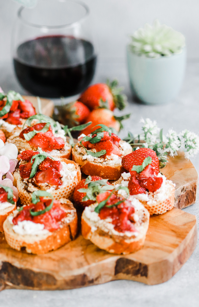 Strawberry Balsamic & Basil Crostinis