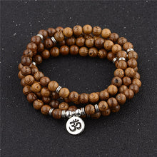 Load image into Gallery viewer, Multilayer 108 Wood Beads Lotus OM Bracelet Tibetan Buddhist Mala Buddha Charm Rosary Bracelet Yoga Wooden For Women Men Jewelry