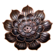 Load image into Gallery viewer, Alloy Incense Burner Stick Holder Buddhism Lotus Line Incense plate Sandalwood Coil Base Temples Yoga Studios Home Decoration