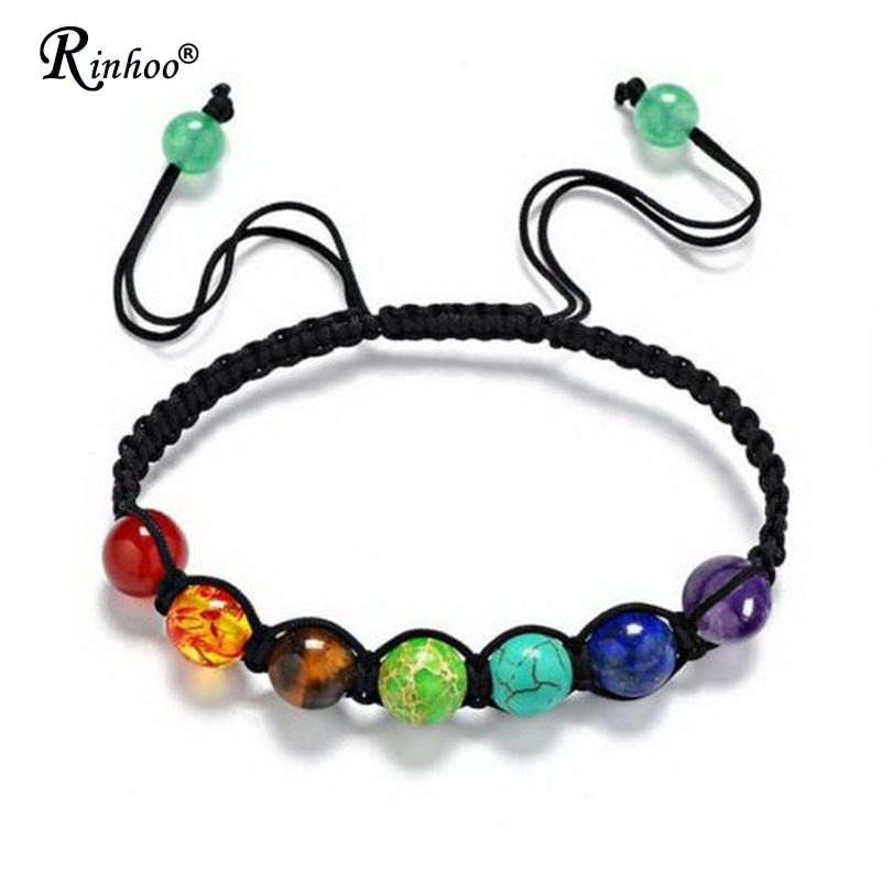 Rinhoo 7 Chakra Healing Yoga Reiki Prayer Bead Stones Balance Beaded Warp Bracelet Braided Bangle Adjustable Jewelry For Women