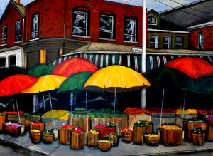 An acrylic painting of a St. Andrew Street fruit vendor in Toronto's Kensington Market. Painted by Canadian artist Jennifer Stenberg.
