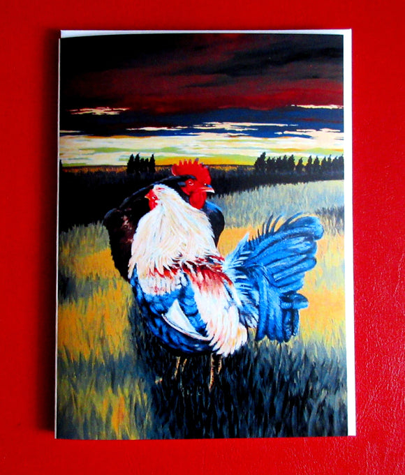 End of Day, Chicken and Rooster - 5.25 x 7.25 - Holger Majorahn