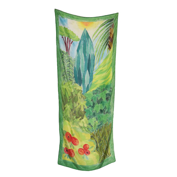 Handpainted unique rectangular silk scarf with garden of eden botanical print designed by Szonja Daniel