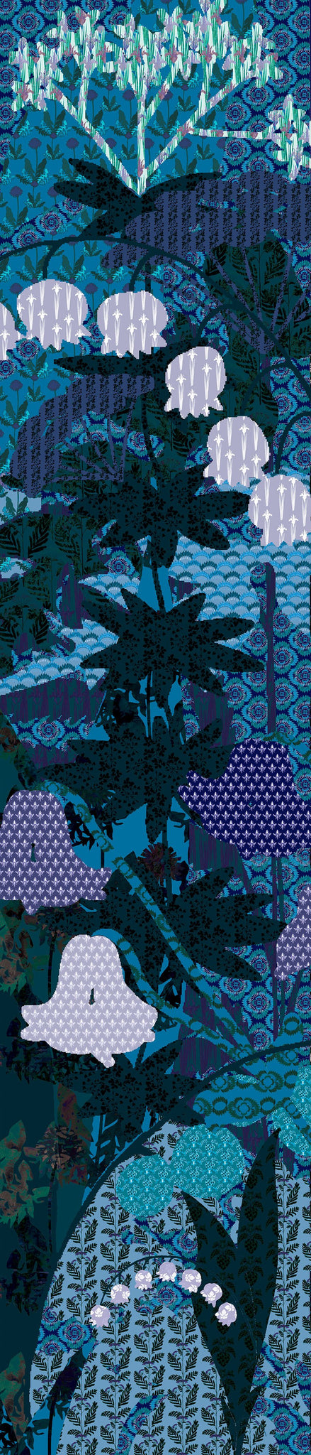 Pixel handmade unique rectangular silk scarf with blue and purple collage floral print designed by Szonja Daniel