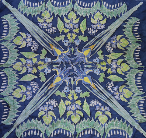 Handpainted unique square silk scarf with blue botanical print designed by Szonja Daniel
