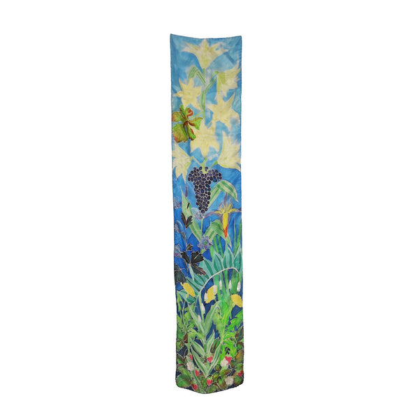 Handpainted unique rectangular silk scarf with heaven and eart floral print designed by Szonja Daniel