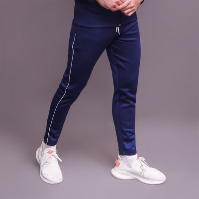 Navy Blue Trouser With White Pipping