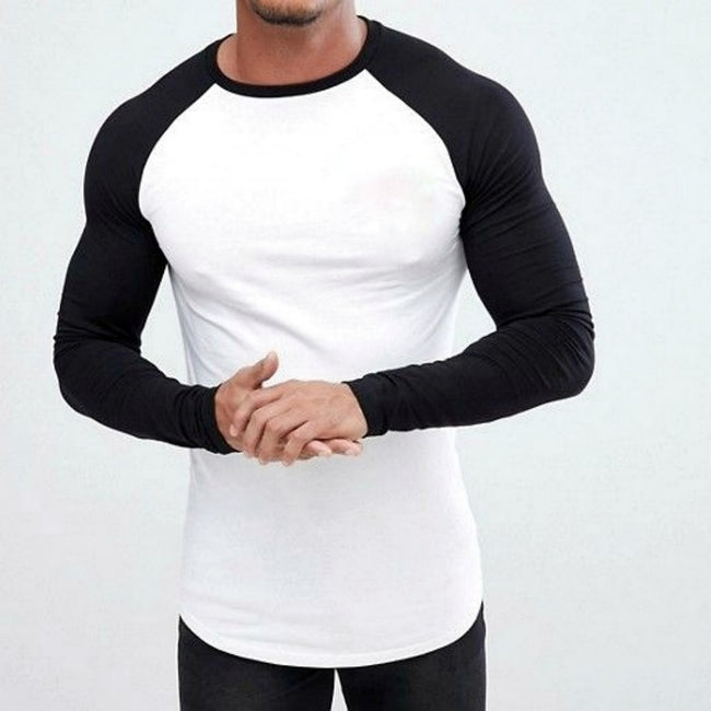 white tee with Black raglan sleeves
