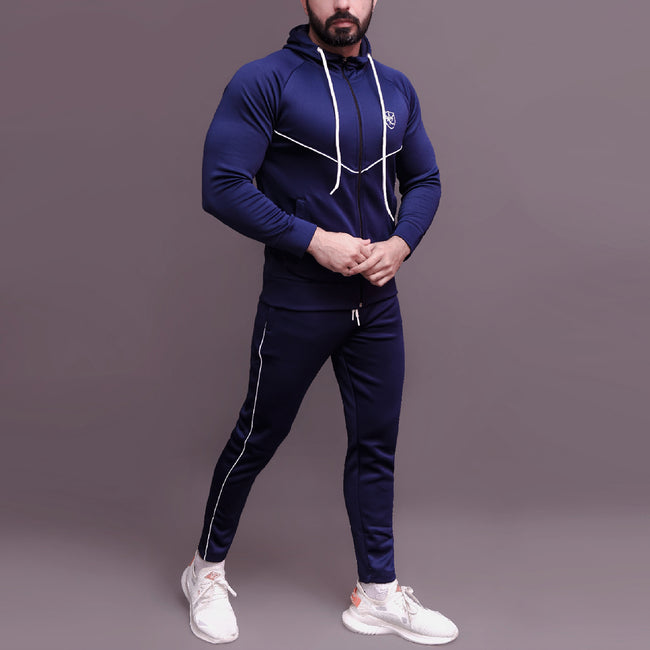 Navy Blue Tracksuit With White Pipping