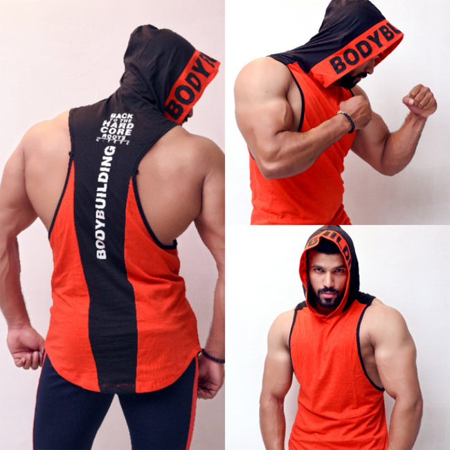 Red Bodybuilding Vest With Hood