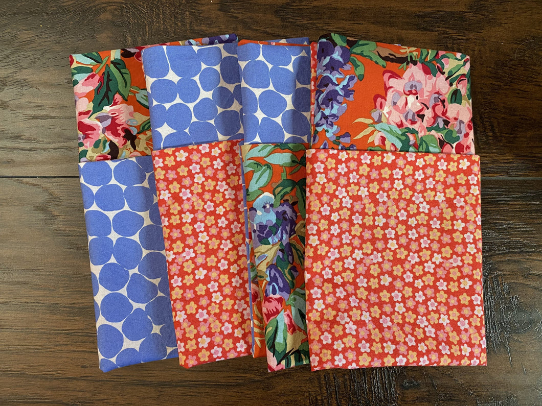 Eco Friendly Reusable Cloth Napkins- Floral & Blue Dot Mix/Match, set of 4