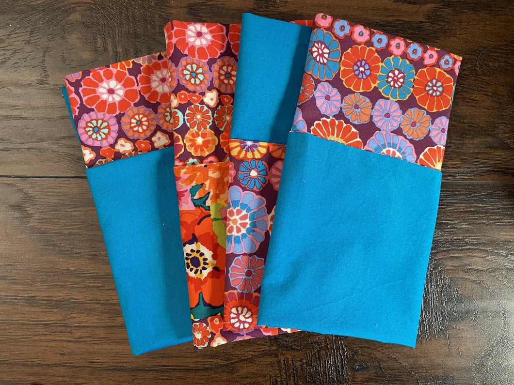 Eco Friendly Reusable Cloth Napkins- Mixed Patchwork Floral & turquoise, set of 4