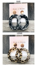 Load image into Gallery viewer, Acrylic tortoise gold stud statement earrings- black oval & leopard circle