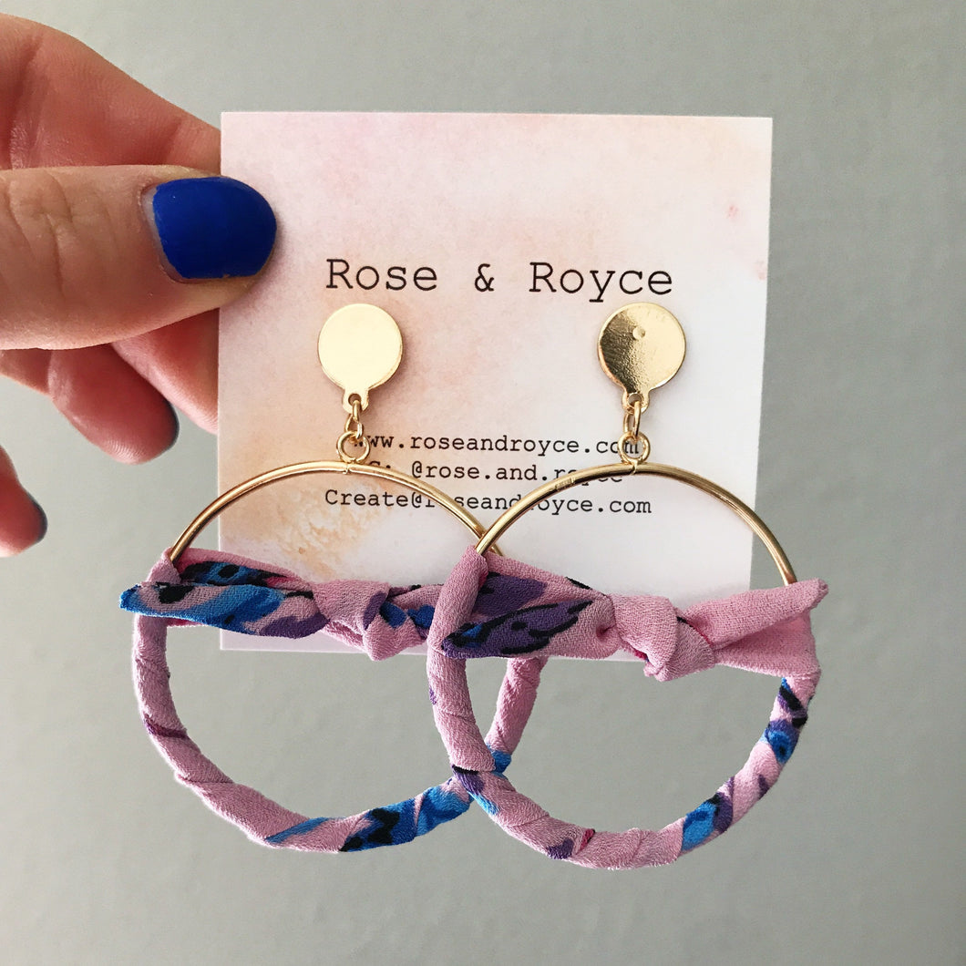 Fabric Bow Hoop Earring, Small- White & pink ditsy floral