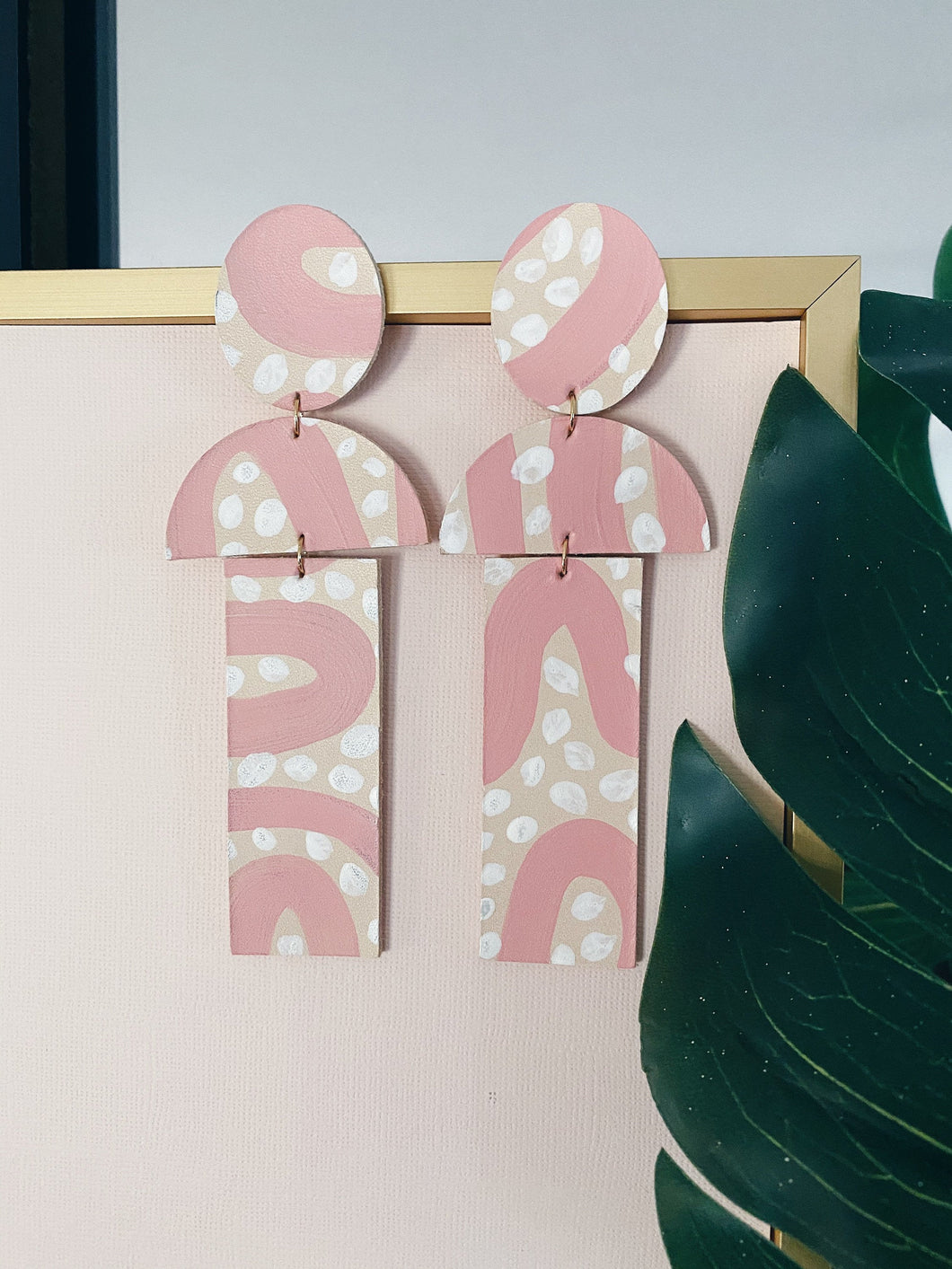 Pink Mural leather painted earrings