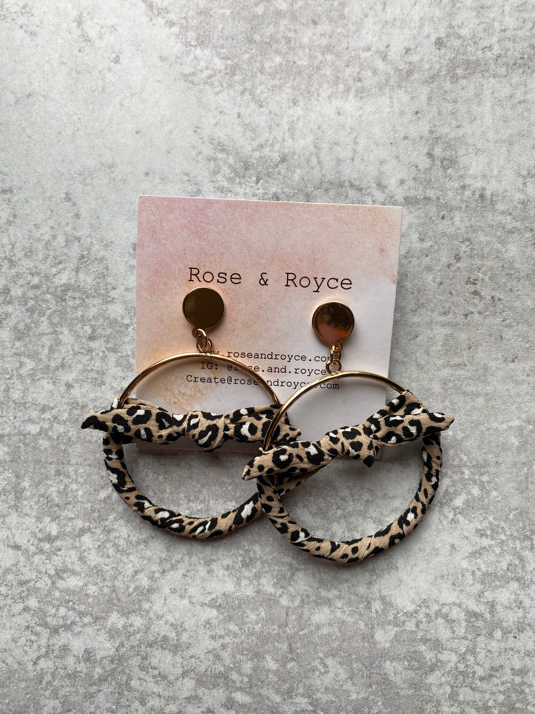 Mini Fabric Bow Hoop Earrings- Leopard