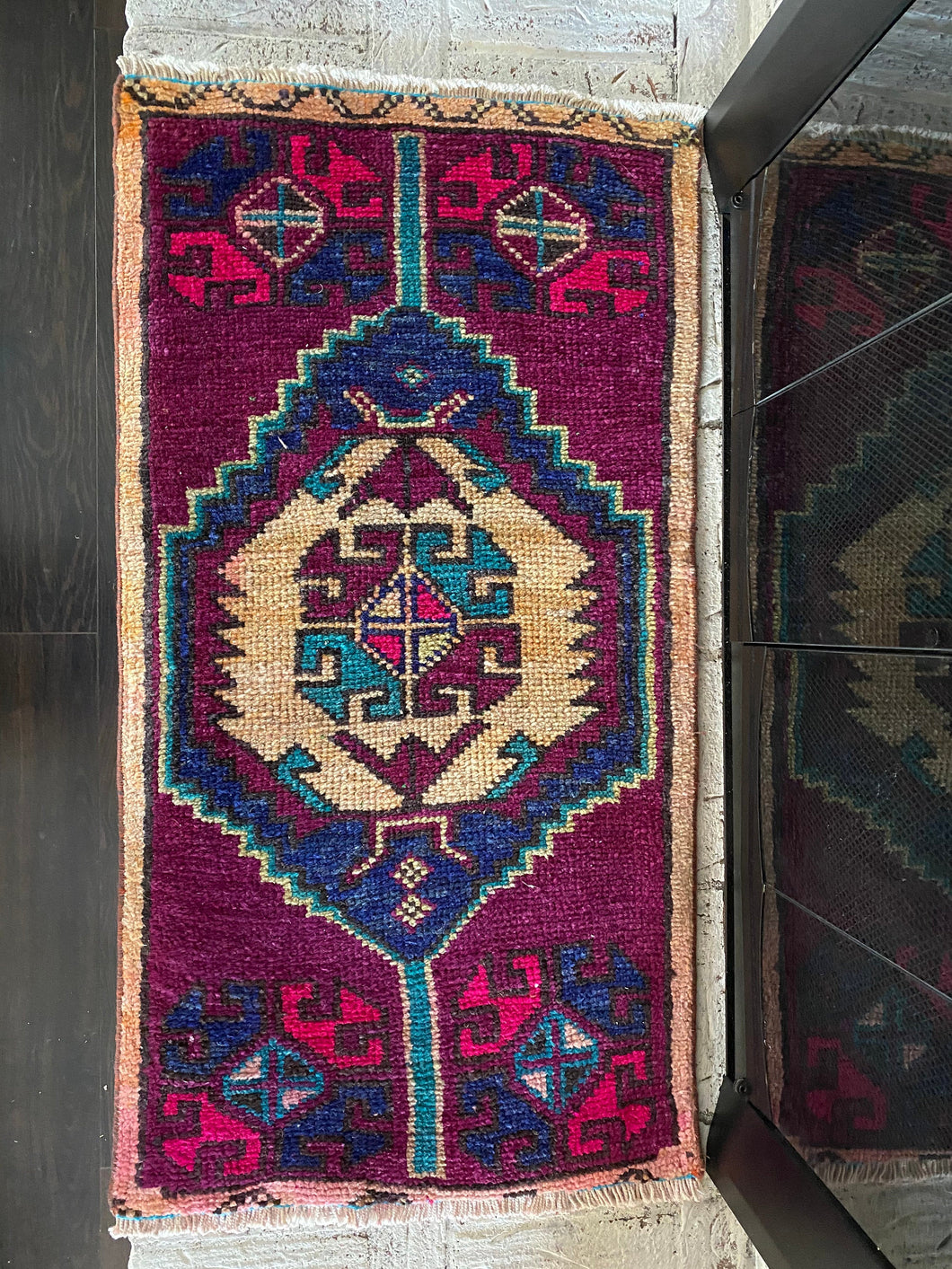 Vintage Turkish Rug, purple & blue 19.75 in x 39 in