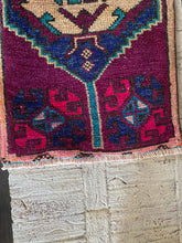 Load image into Gallery viewer, Vintage Turkish Rug, purple & blue 19.75 in x 39 in